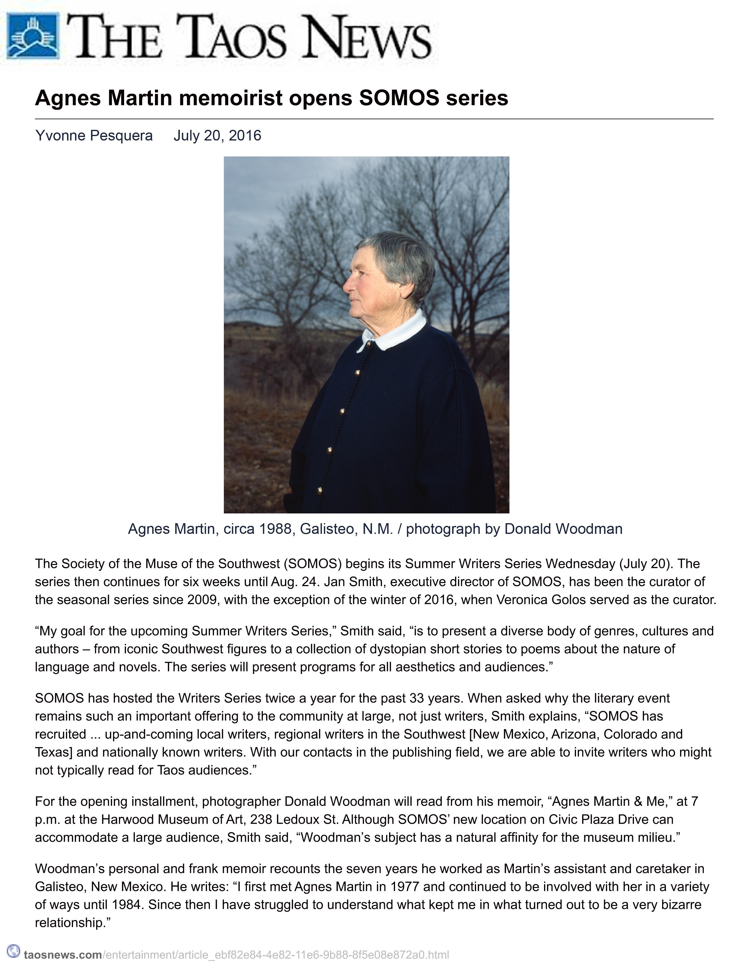Agnes Martin memoirist opens SOMOS series